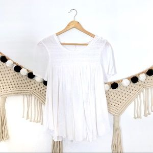 FREE PEOPLE White Ruched Short Sleeve Babydoll Top